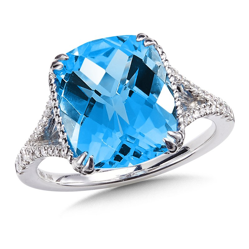 Colore Sg Blue Topaz & Diamond Statement Ring in 14K White Gold