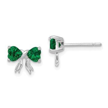 14k White Gold Polished Created Emerald Bow Post Earrings