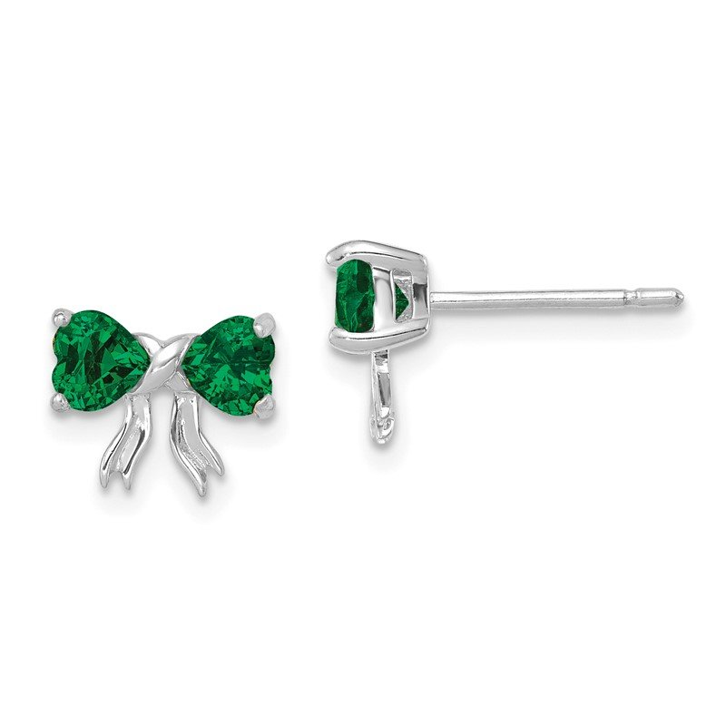 Quality Gold 14k White Gold Polished Created Emerald Bow Post Earrings