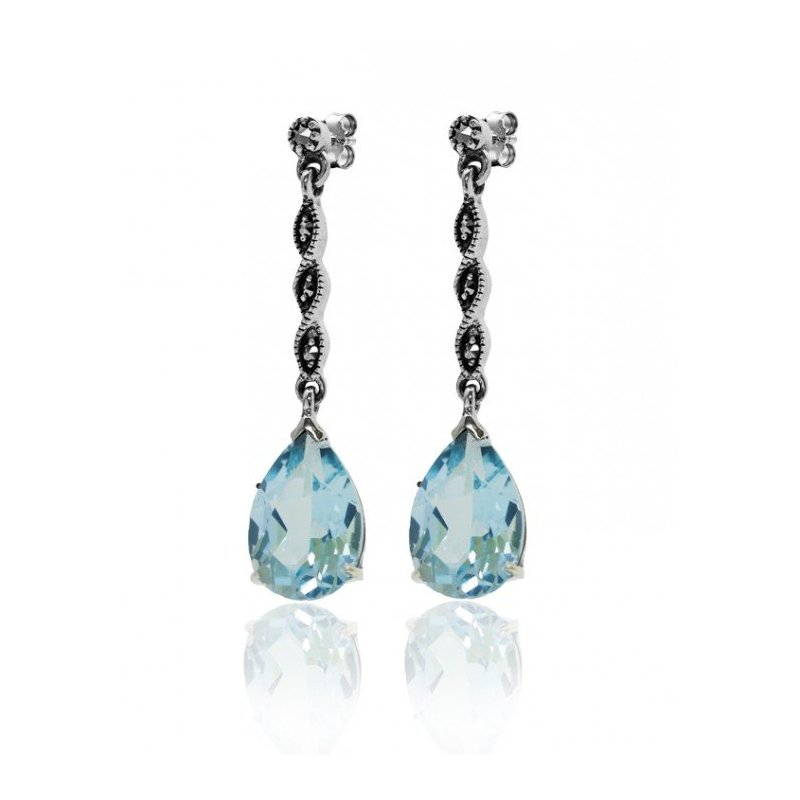 LARUS Jewelry Blue Topaz Drop Earrings