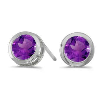 14k White Gold Round Amethyst Bezel Stud Earrings