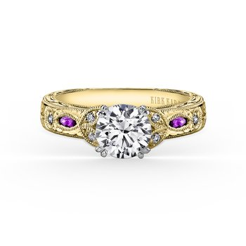 Amethyst Diamond Floral Engagement Ring