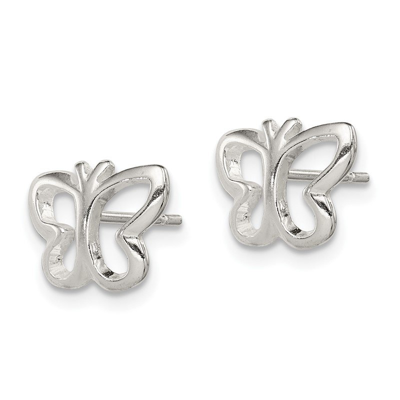 Fine Jewelry by JBD Sterling Silver Butterfly Post Earrings