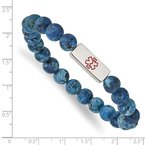 Chisel Stainless Steel Polished Medical ID Plate Lapis Bead Stretch Bracelet