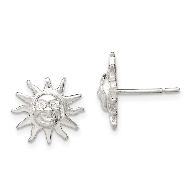 Quality Gold Sterling Silver Sun Mini Earrings