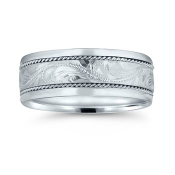 Mens Hand-engraved Wedding Band