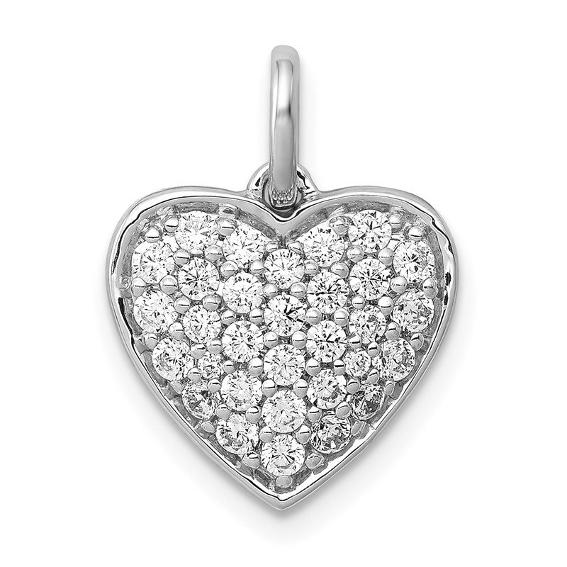 Quality Gold 14k White Gold 5/8ct. Diamond Heart Pendant