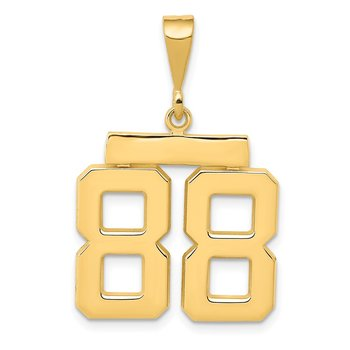 14k Medium Polished Number 88 Charm