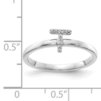 14k White Gold Diamond Initial T Ring