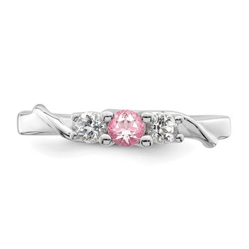 Sterling Silver Survivor Collection Clear/Pink Swarovski Topaz Joanna Ring
