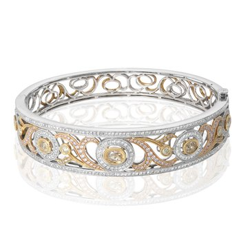 Tri-Colored Abstract Diamond Bangle