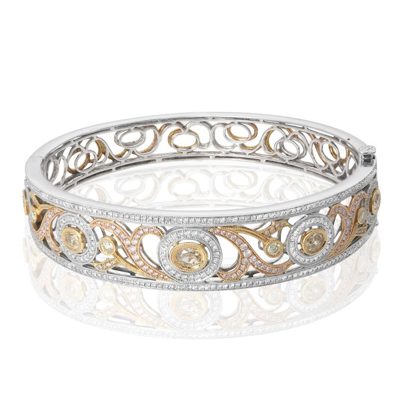 Roman & Jules Tri-Colored Abstract Diamond Bangle