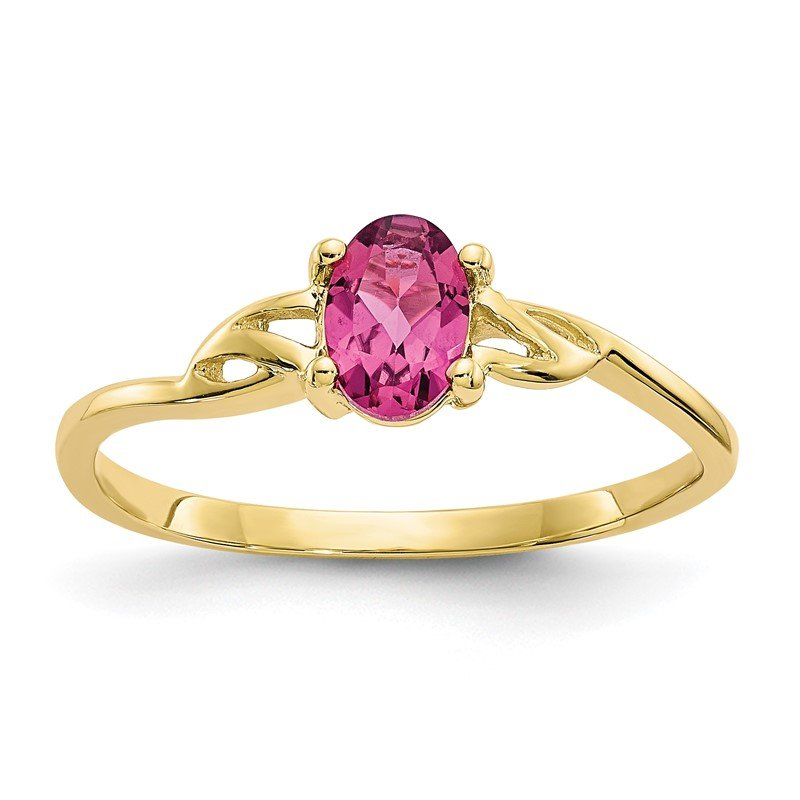 Quality Gold 10k Polished Geniune Pink Tourmaline Birthstone Ring
