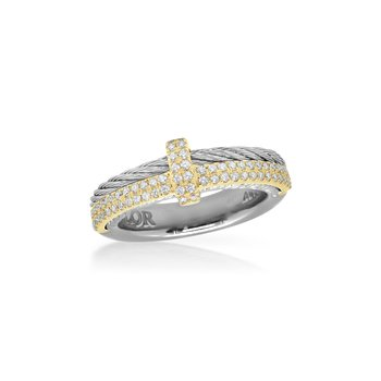 Grey Cable Petite Opulence Ring with 18kt Yellow Gold & Diamonds