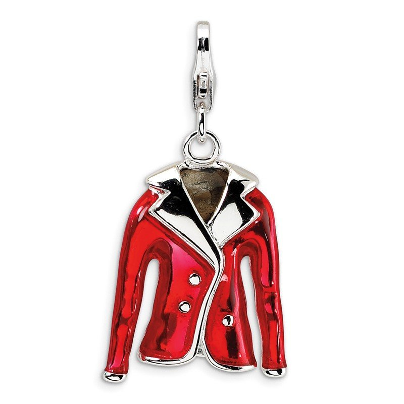 Quality Gold Sterling Silver Amore La Vita Rhodium-pl 3-D Red Enameled Jacket Charm