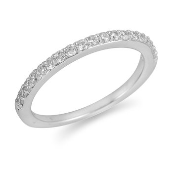 14K WG Diamond Wedding Band in Prong Setting