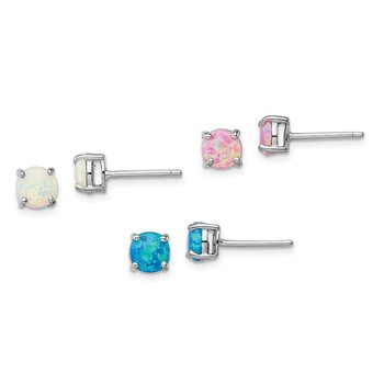 Sterling Silver Rhodium-plated White/Pink/Blue Cr. Opal Set/3 Earrings