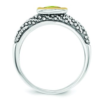 Sterling Silver w/14k Peridot Ring