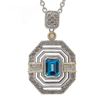 18KT AND STERLING SILVER BLUE TOPAZ & DIAMOND NECKLACE