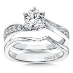 Caro74 Classic Elegance Collection Criss Cross Diamond Engagement Ring in 14K White Gold with Platinum Head (3/4ct. tw.)