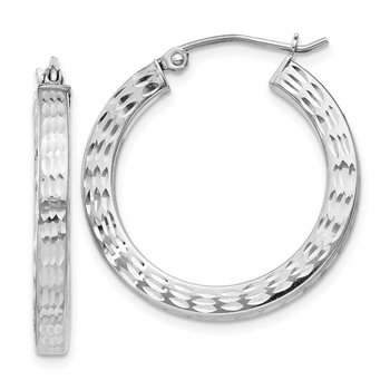 Sterling Silver Rhodium-plated Diamond-cut 3x25mm Square Hoop Earrings
