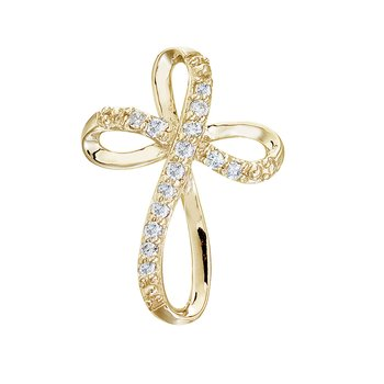 14K Yellow Gold Diamond Swirl Cross Pendant