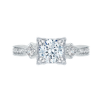 Carizza Round Diamond Vintage Engagement Ring In 14K White Gold (Semi-Mount)