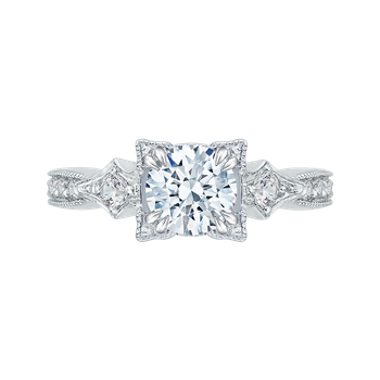 Round Diamond Vintage Engagement Ring In 14K White Gold (Semi-Mount)