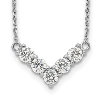 Sterling Silver Rhodium-Plated V-Shape CZ Necklace