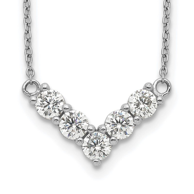 Quality Gold Sterling Silver Rhodium-Plated V-Shape CZ Necklace