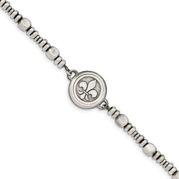 Sterling Silver Antiqued Brushed & Polished Fleur De Lis Bracelet
