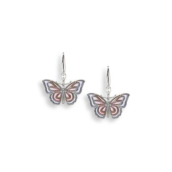 Purple Butterfly Wire Earrings.Sterling Silver - Plique-a-Jour
