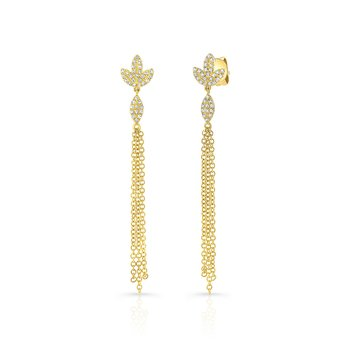 Yellow Gold Dangling Tassel Earrings