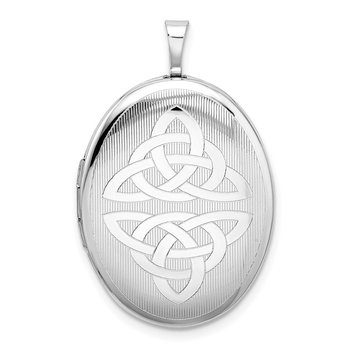Sterling Silver Rhodium-plated Trinity Oval Locket