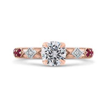 18K Two-Tone Gold Round Diamond and Ruby Engagement Ring (Semi-Mount)