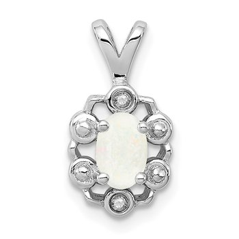 Sterling Silver Rhodium-plated Created Opal & Diam. Pendant