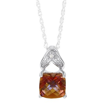 Sterling Silver Sunset Topaz and Diamond Accent Pendant