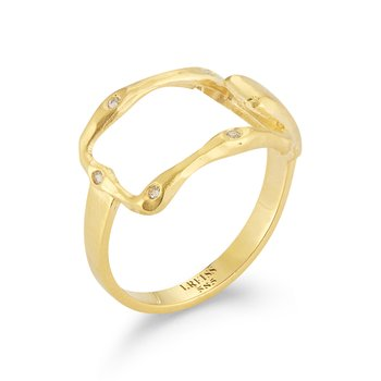 14K-Y OPEN REC. RING, 0.09CT
