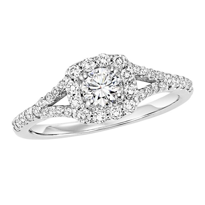 Bridal Bells 14K Diamond Enagement Ring 3/8 ctw With 1/3 ct Center Diamond