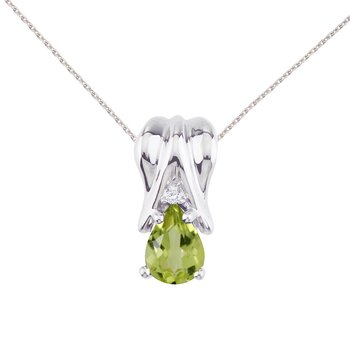 14k White Gold Peridot and Diamond Pear Shaped Pendant