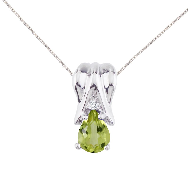 Color Merchants 14k White Gold Peridot and Diamond Pear Shaped Pendant