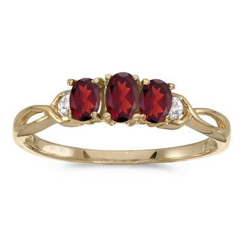 14k Yellow Gold Oval Garnet And Diamond Three Stone Ring