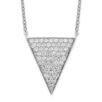 Sterling Silver Rhodium-plated CZ Triangle Dangle Necklace