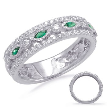 Emeralds & Diamond Wedding Band