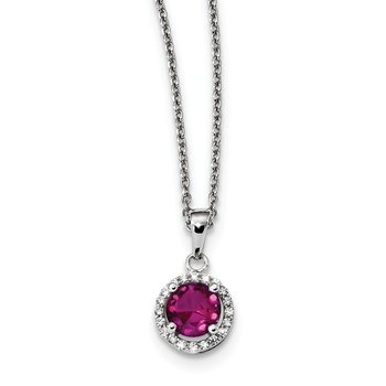 SS Rhodium-Plated CZ Brilliant Embers Red Corundum 18in Necklace
