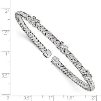 Leslie's Sterling Silver Rhodium-plated CZ Woven Cuff
