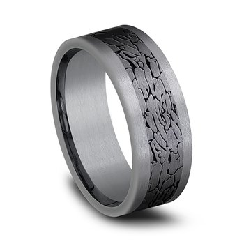 and Black Titanium Comfort-fit Design Wedding Band