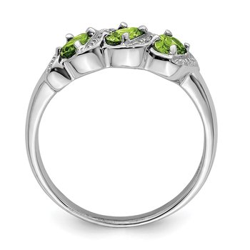 Sterling Silver Rhodium Peridot & Diamond Ring