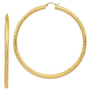 14k Lightweight 4mm Diamond-cut Hoop Earrings