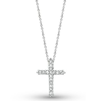 Diamond Cross Necklace in 14k White Gold with 16 Diamonds weighing .18ct tw.
